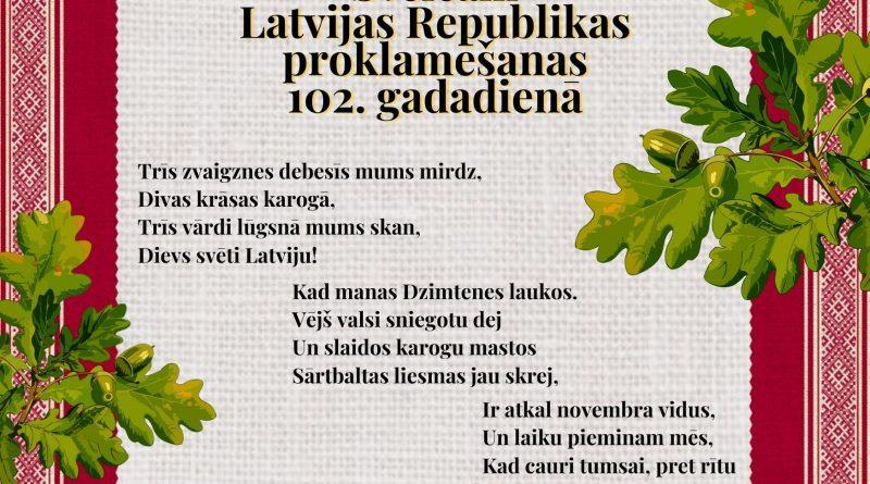 APSVEIKUMS LATVIJAS 102.GADADIENĀ!